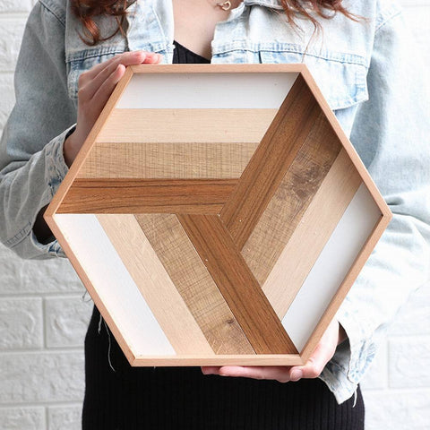 Uptown Vibez Geometry Splice Wooden Serving Tray