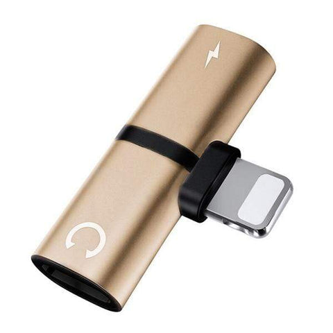 Uptown Vibez Gold 2 In 1 Splitter Adapter For iPhone