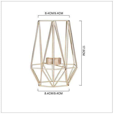 Uptown Vibez Gold Modern Geomatric Cage Candle Holder
