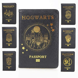 Uptown Vibez HEQUN Hogwarts Rfid Blocking Passport Cover Unisex Cross Pu Leather Black Gold Press Passport Holder Travel Passport Card Case