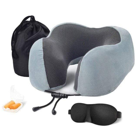 Uptown Vibez Light Gray Memory Foam Travel Pillow