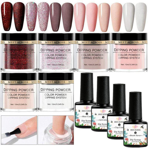 Uptown Vibez MEET ACROSS10Pcs Nude Pink Series Dipping Nail Powder Set Sparkling Nail Glitter Natural Dry Dip Nail Chrome Decoration Kit