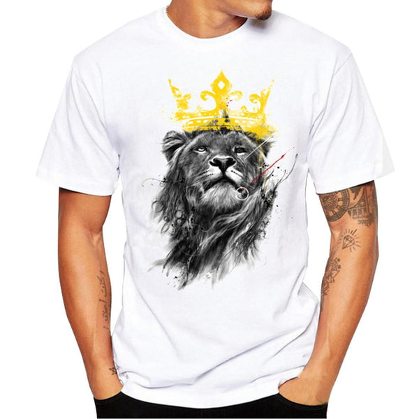 uptown vibez Men's Crowned Lion Printed T Shirt