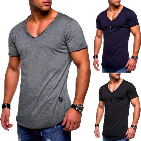 uptown vibez Men's Slim Fit Muscle V Neck