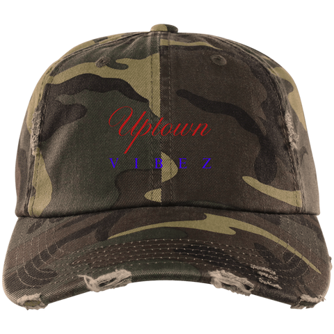 CustomCat Hats Military Camo / One Size Distressed Dad Cap