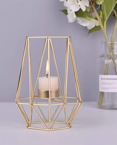 Uptown Vibez Modern Geomatric Cage Candle Holder