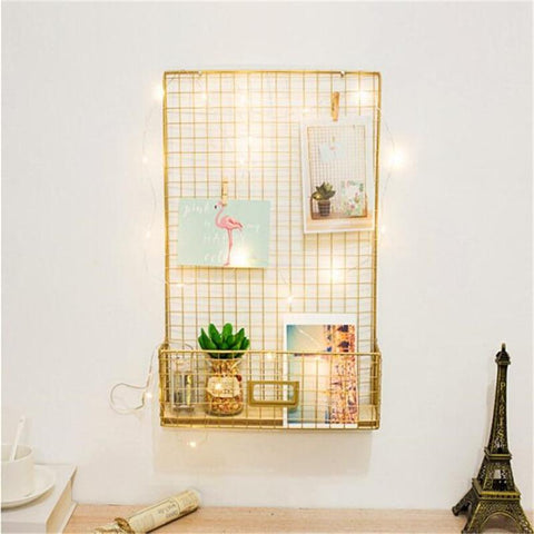 Uptown Vibez Nordic Style Gold Grid Photo Display