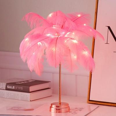 Uptown Vibez Pink Feather Shade LED Desk Lamp