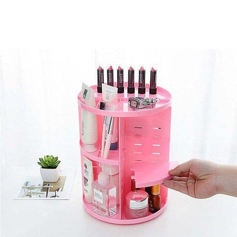 Uptown Vibez Pink Rotating Make-Up Organizer