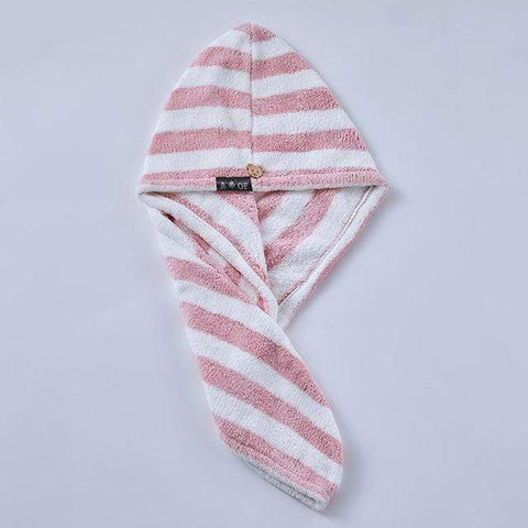 Uptown Vibez Pink Stripe / 25x65cm / China Quick Drying Hair Towel