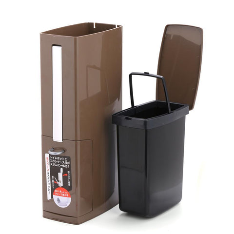 Uptown Vibez Plastic Trash Can with Toilet Brush