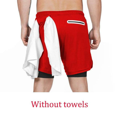 Uptown Vibez Red 2 / XXL 2 In 1 Men Athletic Shorts
