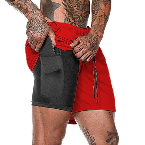 Uptown Vibez Red / XXL 2 In 1 Men Athletic Shorts