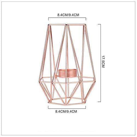 Uptown Vibez Rose Gold 2 Modern Geomatric Cage Candle Holder