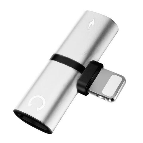 Uptown Vibez Silver 2 In 1 Splitter Adapter For iPhone