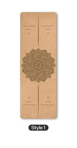 Uptown Vibez Style 1 / United States 70 in Yoga mat Fitness Natural Cork mats Pilates Sport Slimming Balance Training Gym with Position Line Non Slip Gymnastics Pad