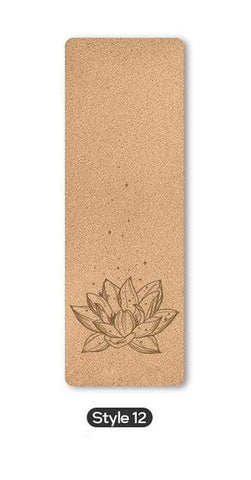 Uptown Vibez Style 12 / United States 70 in Yoga mat Fitness Natural Cork mats Pilates Sport Slimming Balance Training Gym with Position Line Non Slip Gymnastics Pad