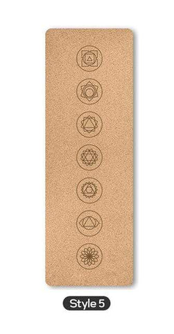 Uptown Vibez Style 5 / Russian Federation 70 in Yoga mat Fitness Natural Cork mats Pilates Sport Slimming Balance Training Gym with Position Line Non Slip Gymnastics Pad