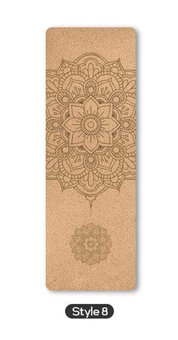 Uptown Vibez Style 8 / United States 70 in Yoga mat Fitness Natural Cork mats Pilates Sport Slimming Balance Training Gym with Position Line Non Slip Gymnastics Pad