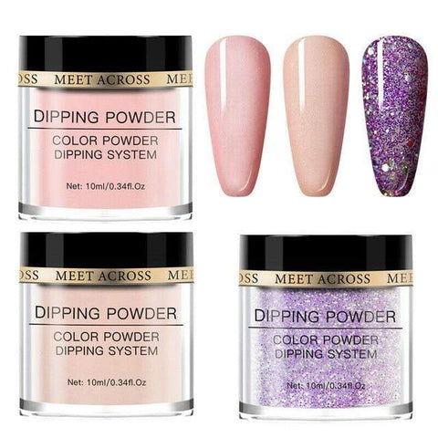 Uptown Vibez United States / AZH10814 MEET ACROSS10Pcs Nude Pink Series Dipping Nail Powder Set Sparkling Nail Glitter Natural Dry Dip Nail Chrome Decoration Kit