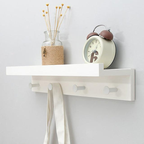 Uptown Vibez White 4 Hooks Holz Wooden Shelf