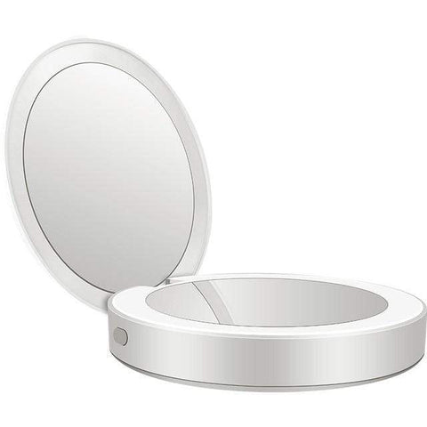 Uptown Vibez White Compact Mirror | LED Light | Power Bank