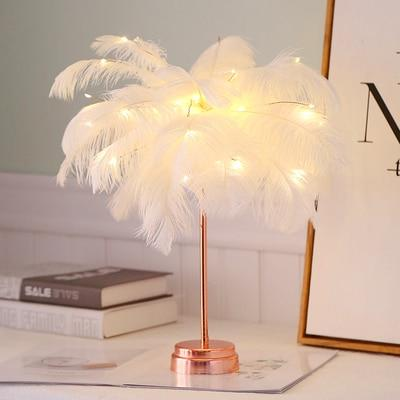 Uptown Vibez White Feather Shade LED Desk Lamp