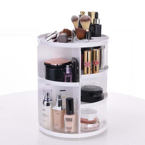 Uptown Vibez White Rotating Make-Up Organizer