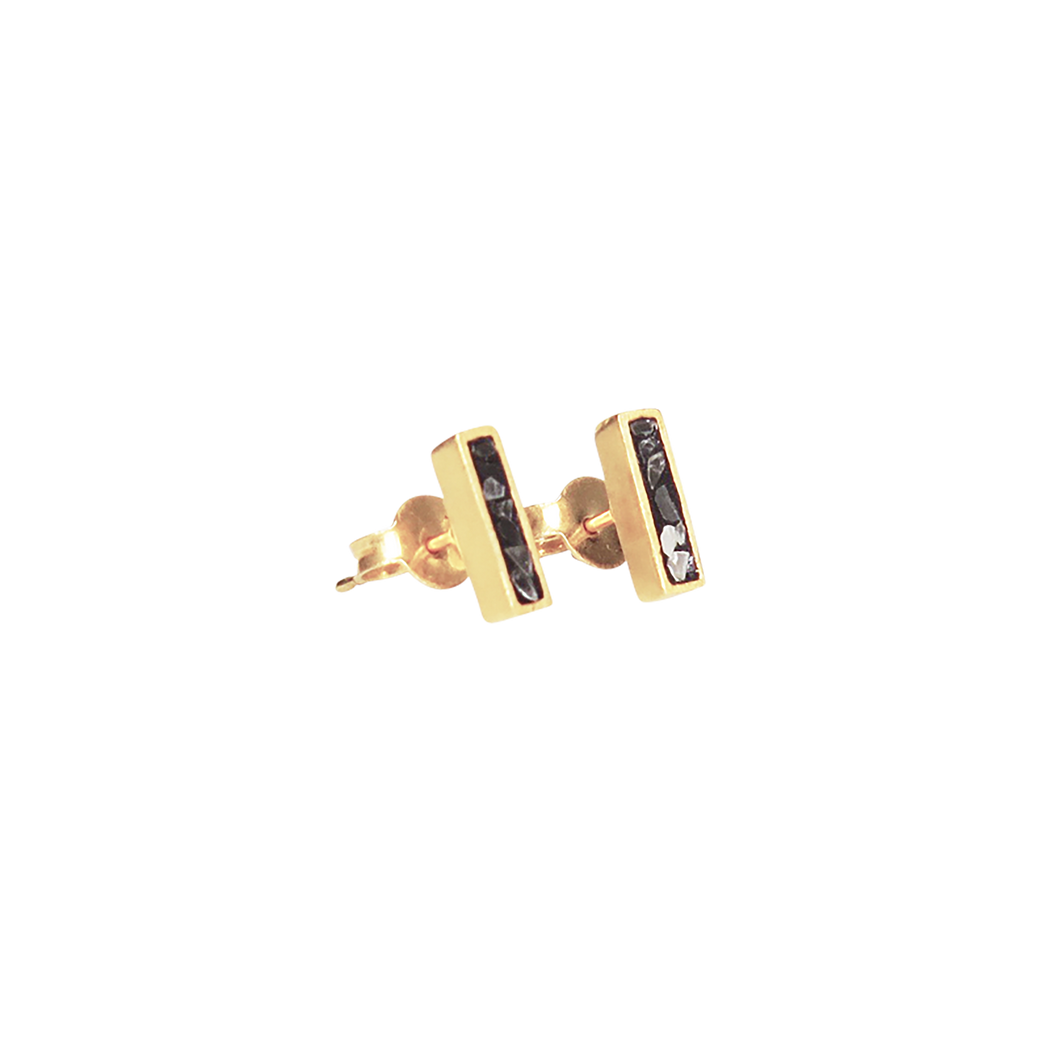 Raw Cut Diamond Oblong Studs
