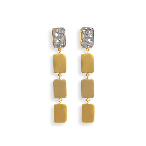 Raw Cut Diamond Multi Plate Earrings