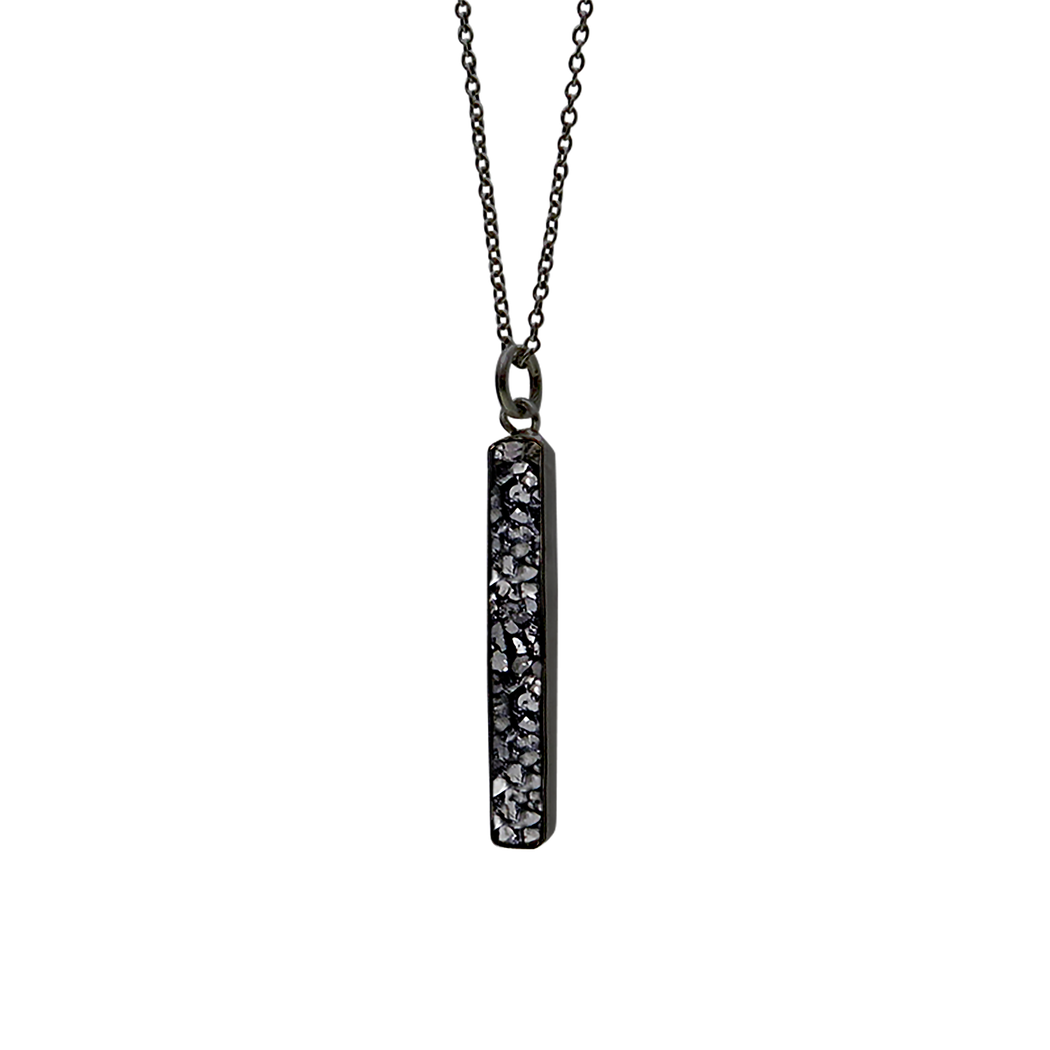 Raw Cut Diamond Bar Pendant Necklace