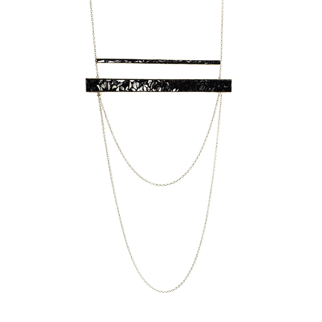 Raw Cut Diamond Horizontal Bar Necklace