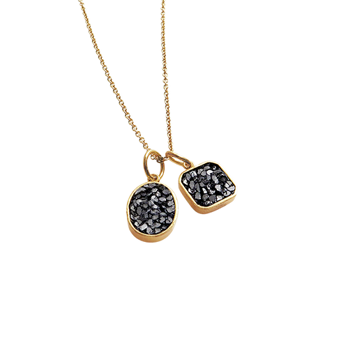 Raw Cut Diamond Double Pendant Necklace