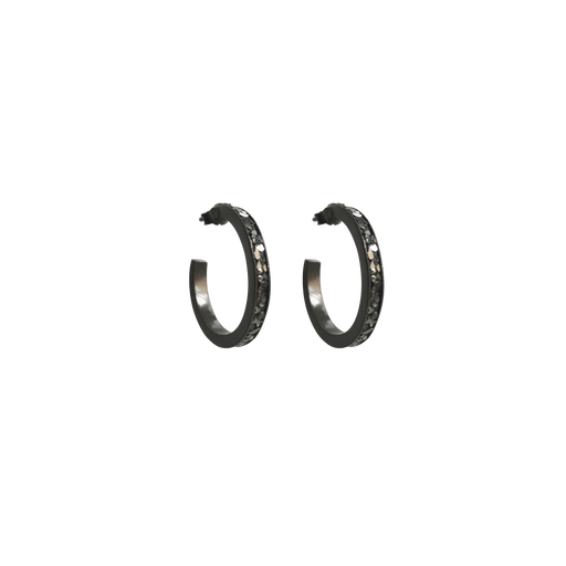 Raw Cut Diamond Open Hoop Earrings