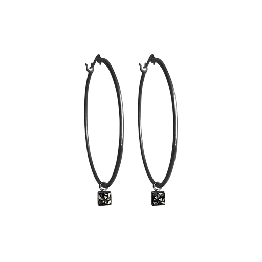 Square Raw Cut Diamond Hoop Earrings