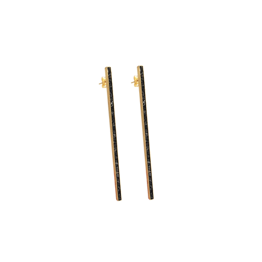 Raw Cut Diamond Long Bar Earrings
