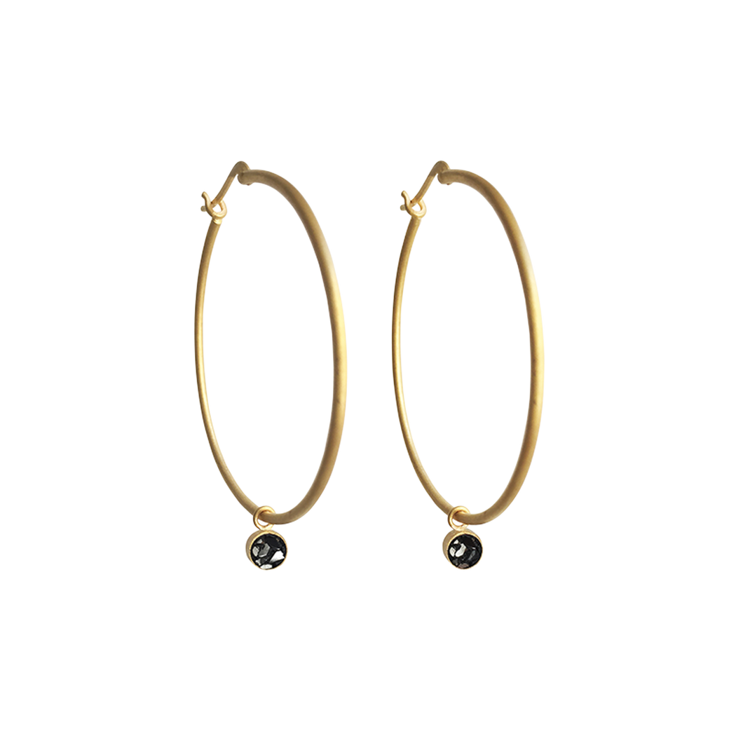 Circle Raw Cut Diamond Hoop Earrings