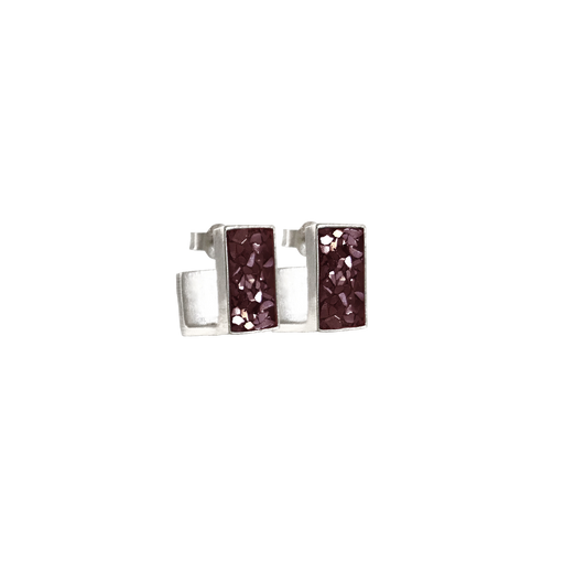Burgundy Oblong J Earrings