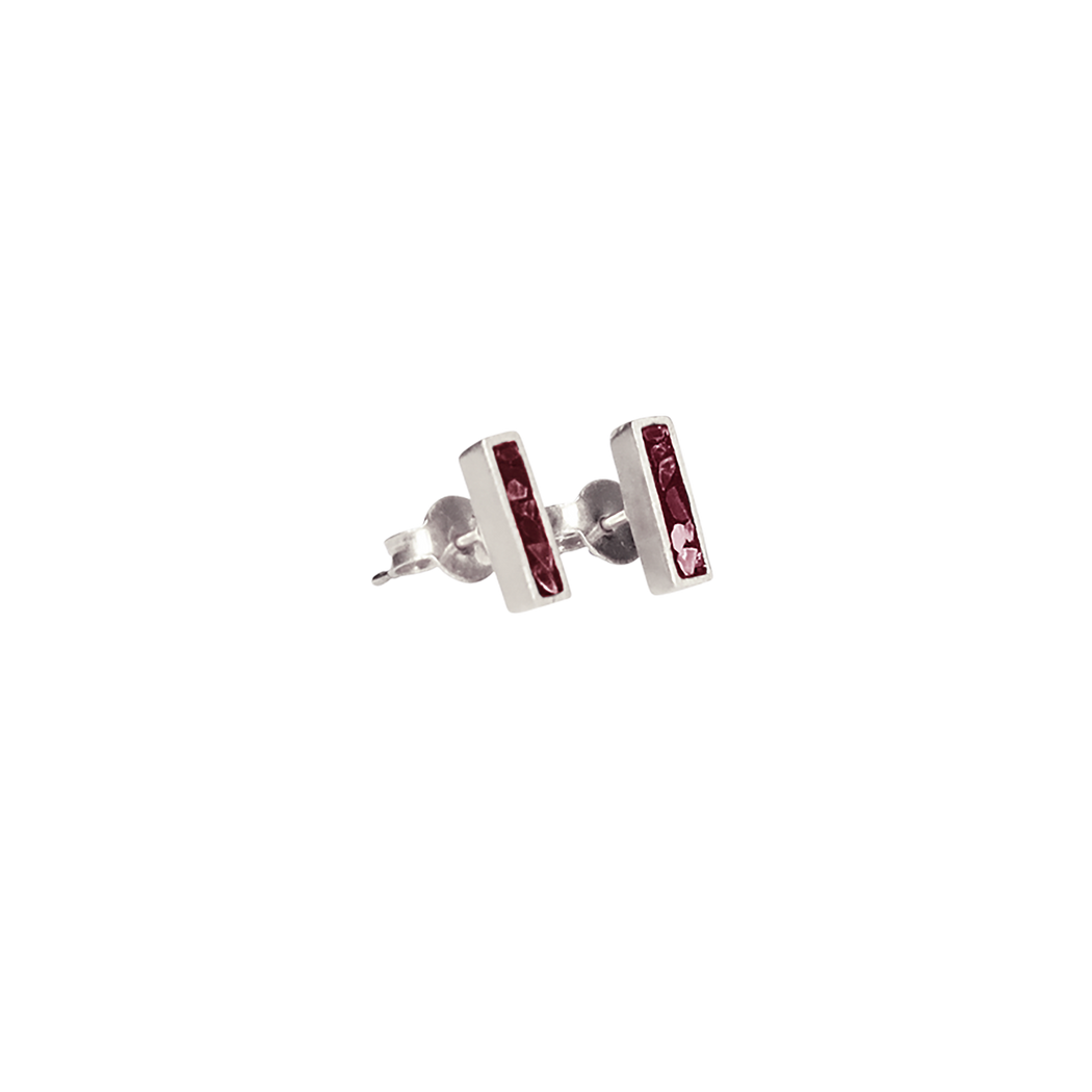 Burgundy Oblong Studs