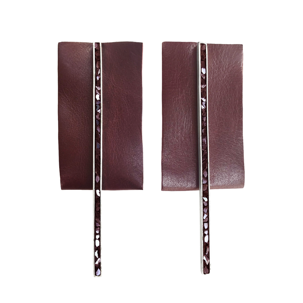Burgundy Long Bar Earrings