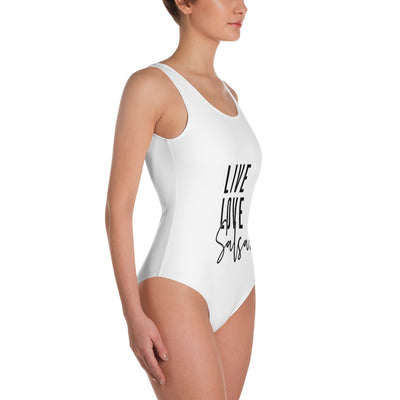 """Live Love Salsa"" One-Piece Swimsuit (White)"