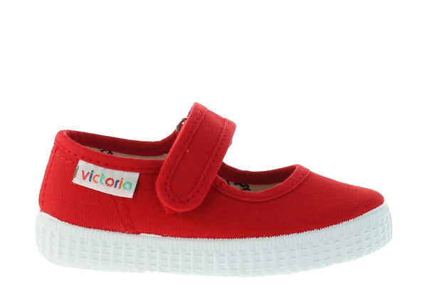 Mary Jane Velcro Canvas Sandals for children - Red - apluckygirl