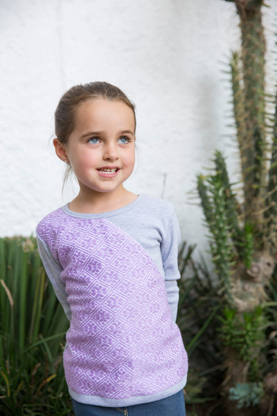 Long sleeve cotton shirt with handmade embrodery - Gray / Lila - apluckygirl