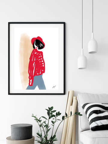 Red hat & woman - Fashion illustration - apluckygirl