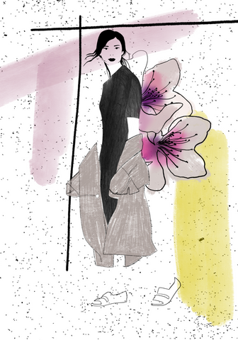 Flower Collage with woman - Fashion illustration - apluckygirl