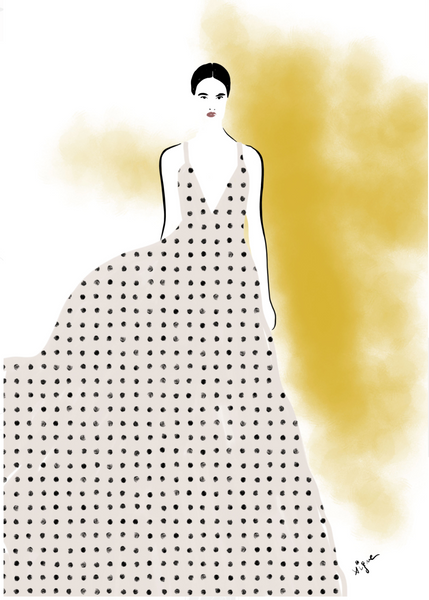 Polka Dots Dress - Fashion illustration - apluckygirl