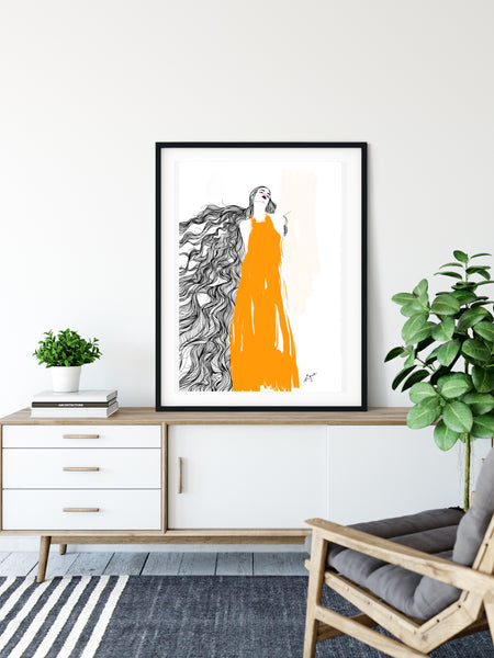 Long hair with yellow dress - Fashion illustration - apluckygirl