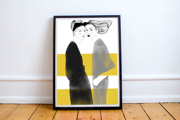 Friends in Black and Yellow - Fashion illustration - apluckygirl