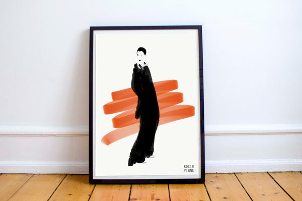 Woman in orange and black - Fashion illustration - apluckygirl