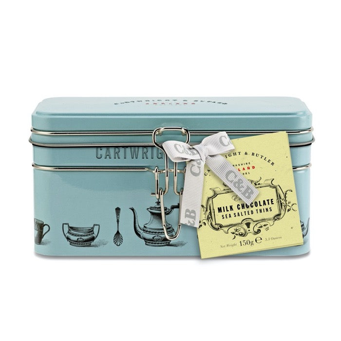 CARTWRIGHT & BUTLER Sea Salted Milk Chocolate Thins in Clip Treasure Tin 150g